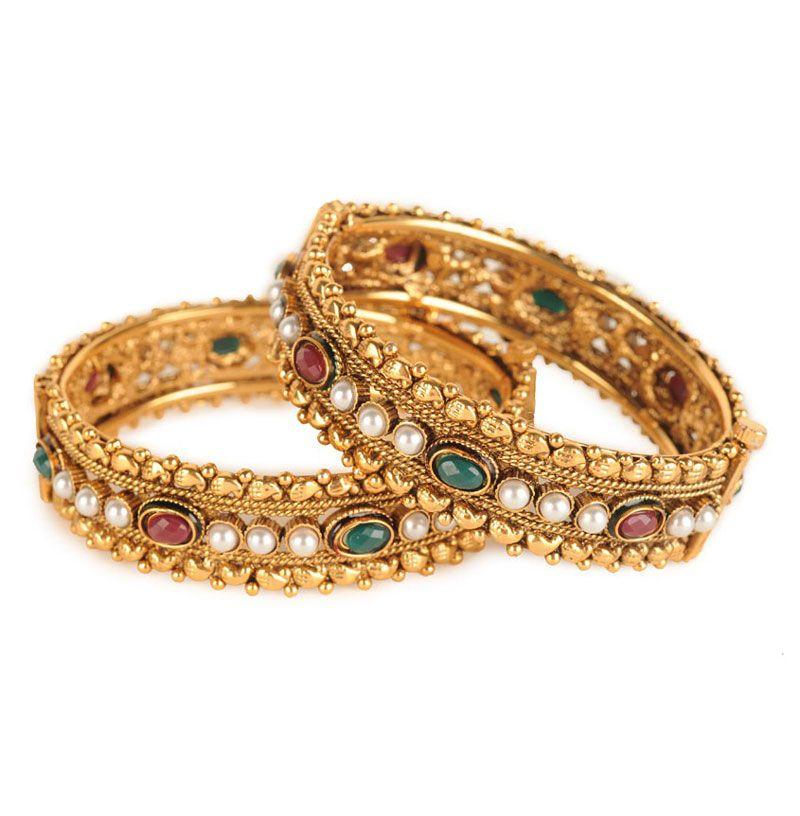 Pearl Gold Bangles — Anjali Jain — Bracelets | Indianhanger.com ...