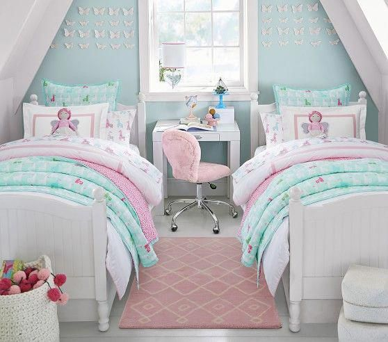 Wholecloth Llama Quilt Shared Girls Bedroom Shared
