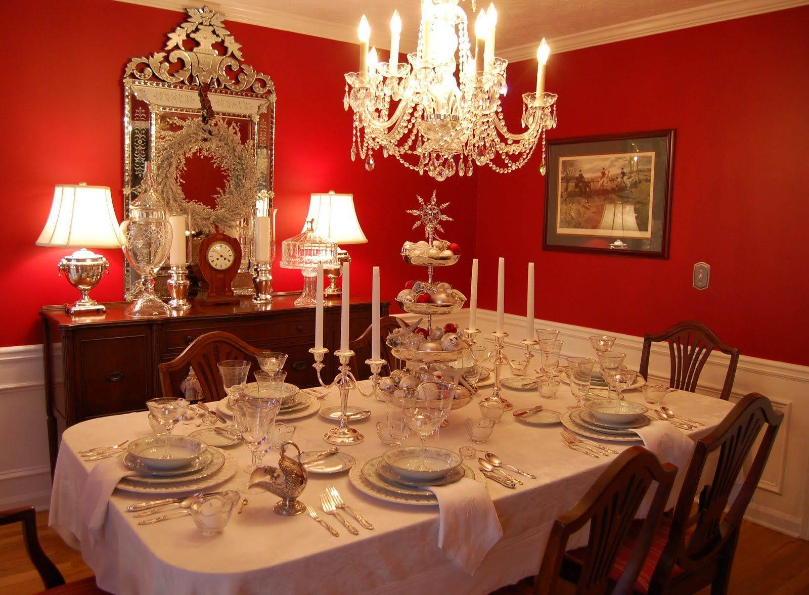 Silver Tiered Centerpiece For Christmas Red Dining Room Dining Room Table Decor Elegant Dining Room