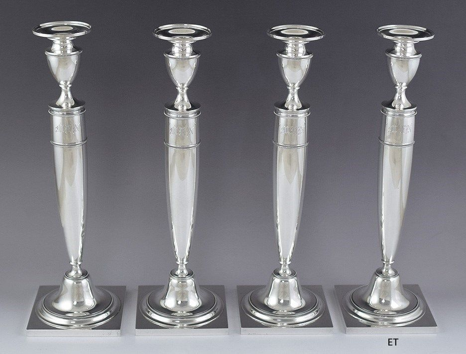 1923 impressive set 4 whiting sterling silver tall