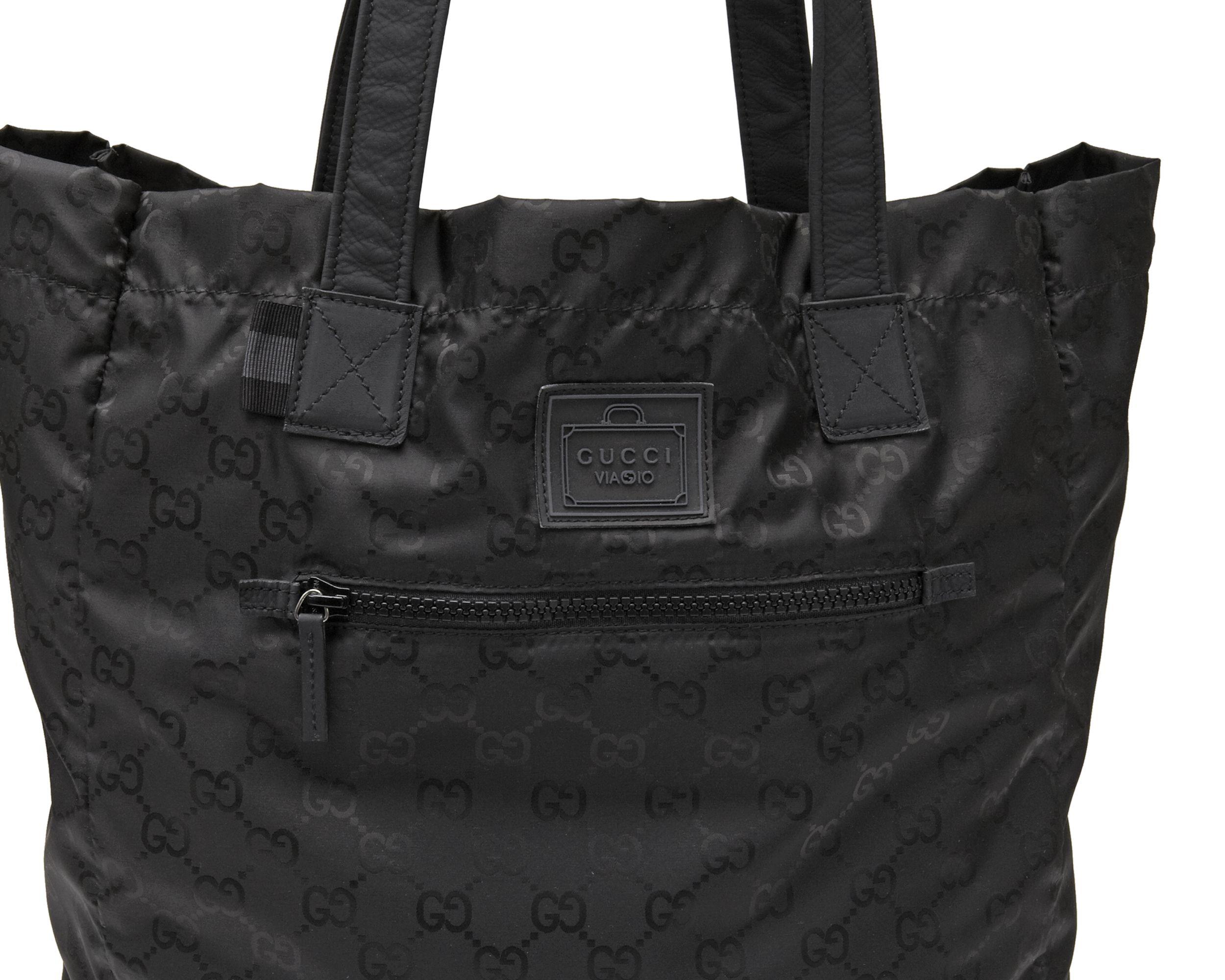 8c0ba29a34 Black gg nylon tote from viaggio collection | My Style | Gucci e Viaggi