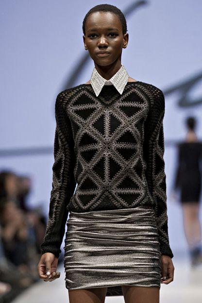 Line Knitwear F/W '12   Black suede triangles crocheted with metallic yarn