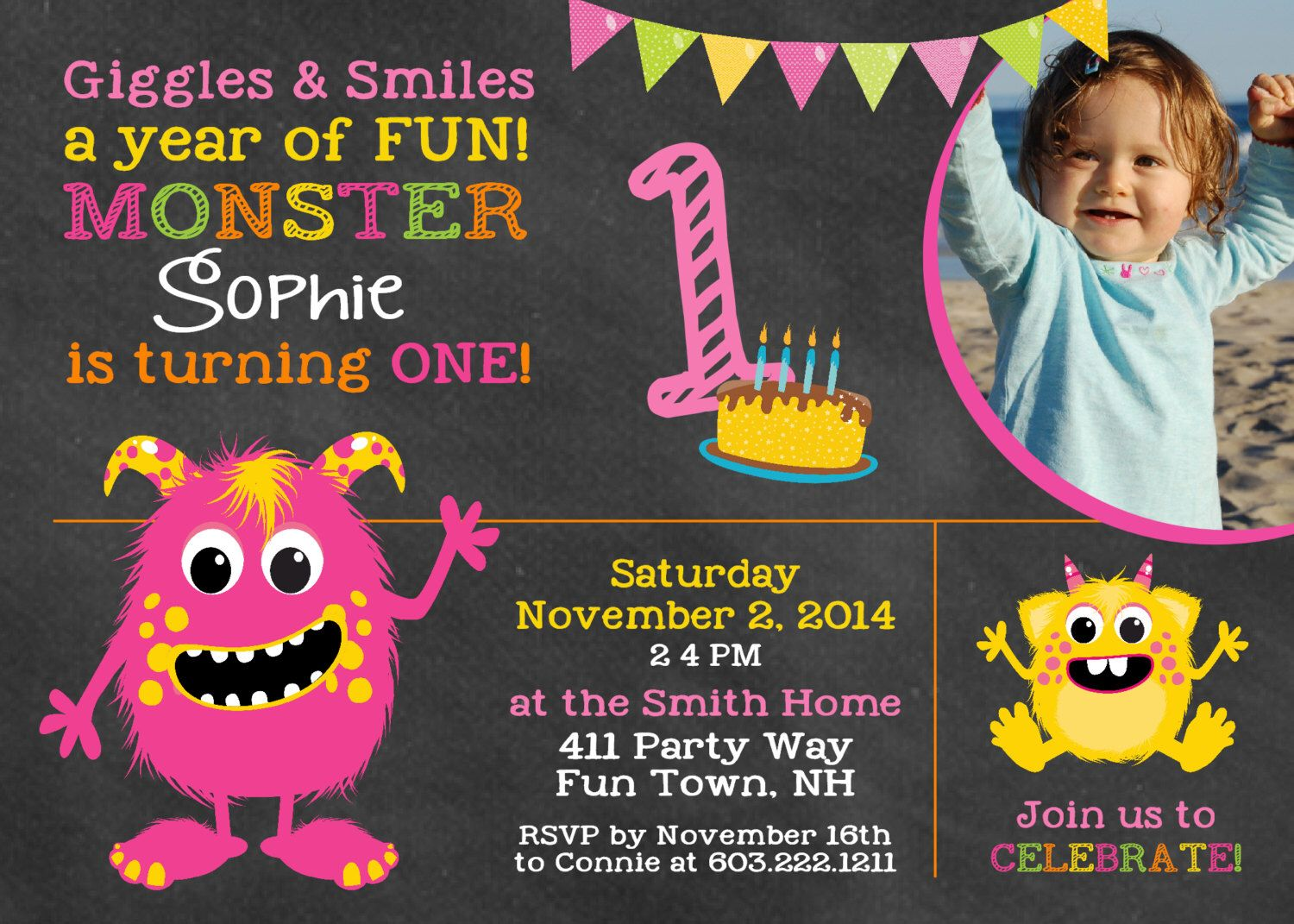 Monster Birthday Invitation First Birthday Monster Party Invitation ...