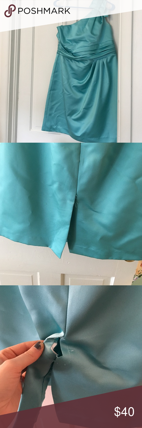 Short robin egg blue dress Short one shoulder dress. Only been worn once in a wedding. There is a rip in the seam in the back shown in pictures, it could easily be fixed by someone who can sew. It's in good condition otherwise! davids bridal Dresses One Shoulder