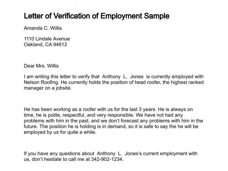 Printable Sample Letter Of Employment Verification Form
