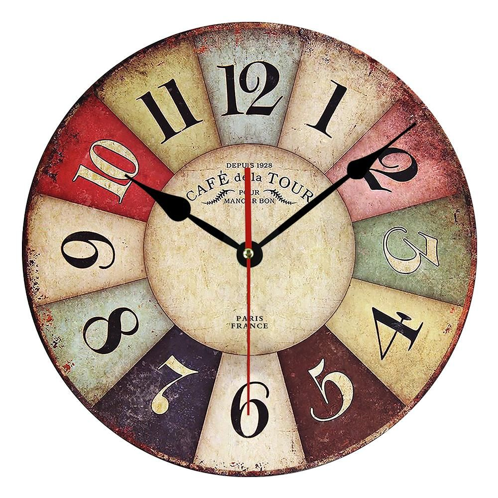 Type Wall Clocks Width 30cm Diameter 30cm Feature Antique Style Motivity Type Quartz Display Type Nee Retro Wall Clock Vintage Wall Clock Wood Wall Clock