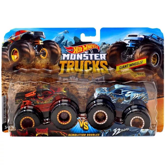 Hot Wheels Monster Trucks Demolition Doubles Scorcher Vs 32 Degrees Die Cast Car 2 Pack Vesion 2 Target Monster Trucks Monster Truck Toys Hot Wheels