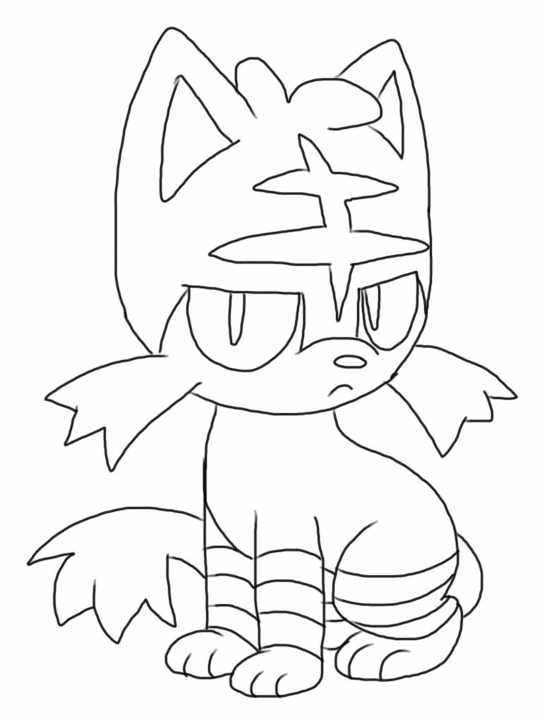 Free Litten Pokemon Coloring Page Downloadable Full Size Pdf