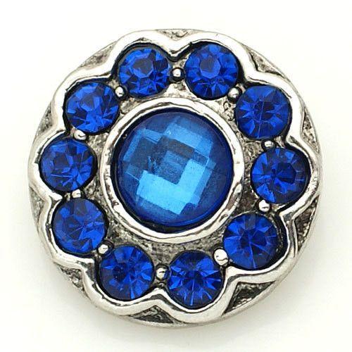 1 PC 18MM Blue Rhinestone Silver Snap Candy Charm kb8860 CC1561