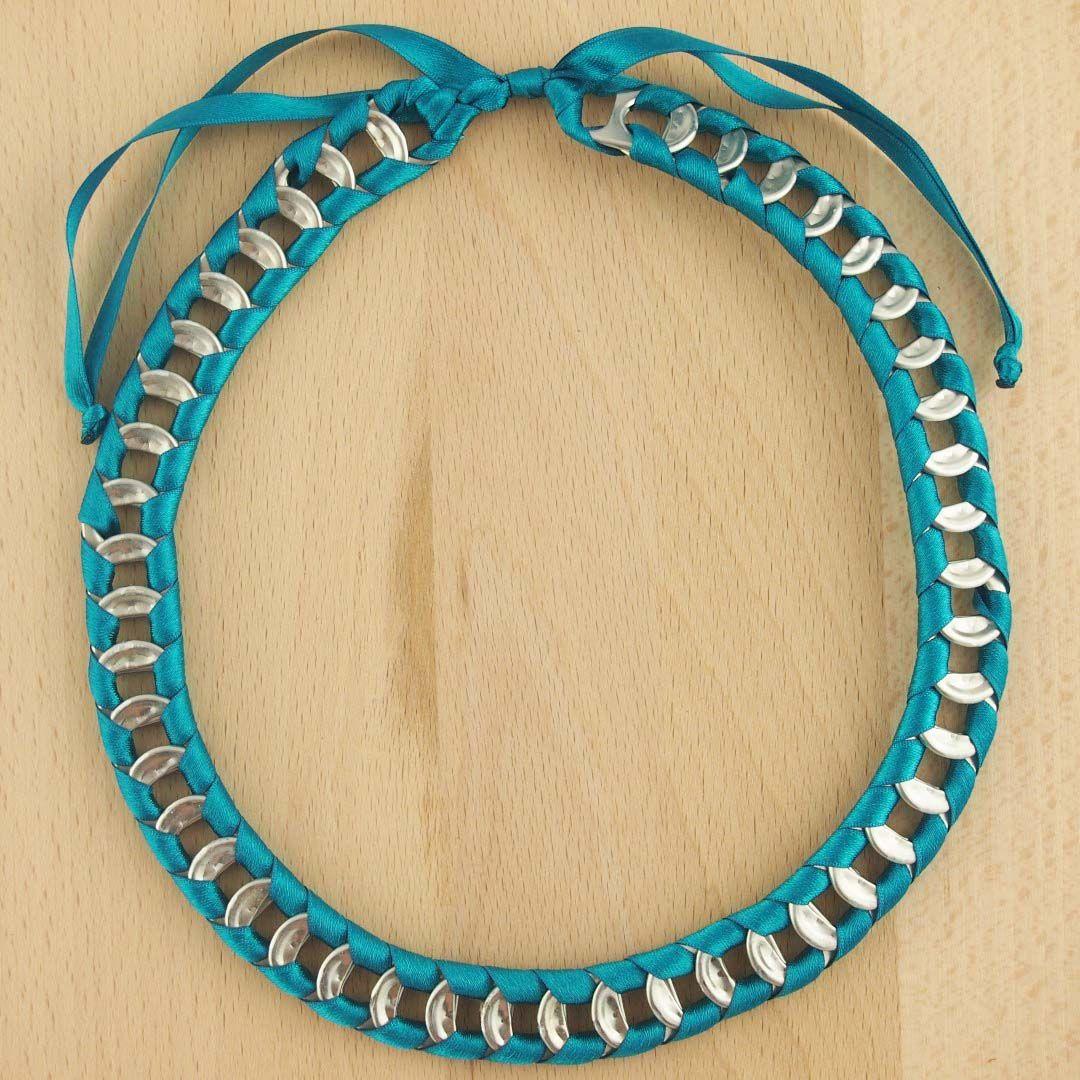 Collier canettes recyclés BUHO TURQUOISE latino fait main; Bijoux fait main ethnique chic.