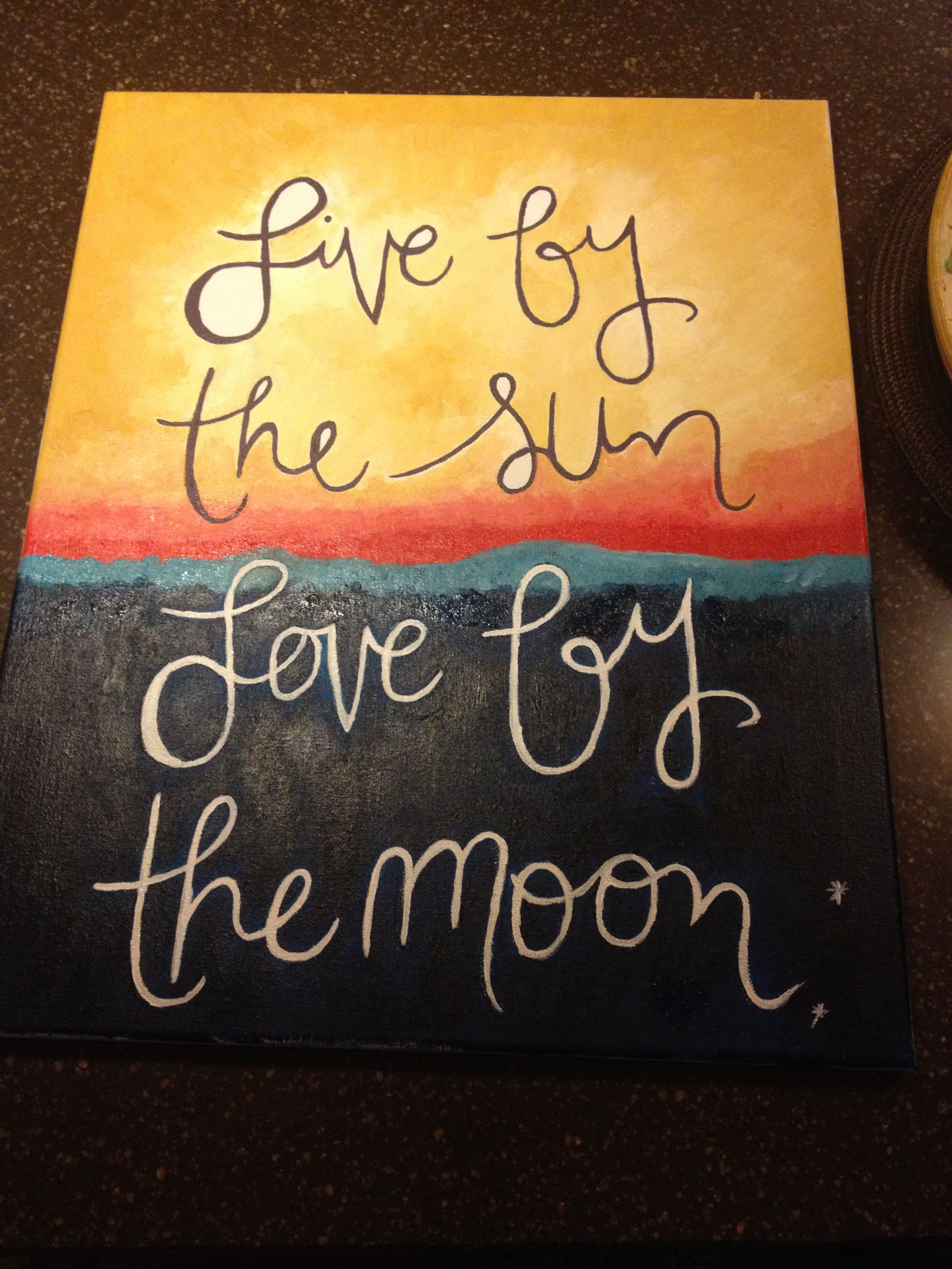 Live By The Sun Love By The Moon Inspiration Art Canvas