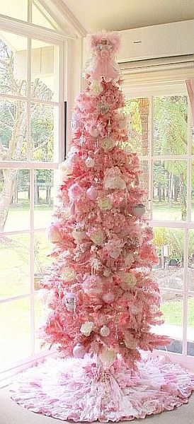 pink Christmas tree Noel Pinterest Shabby chic christmas