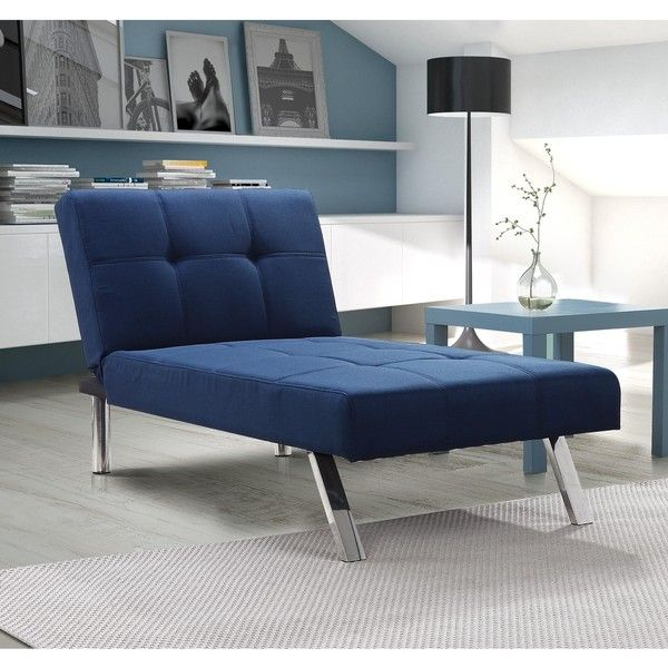 dhp layton navy linen chaise 255 liked on polyvore featuring home furniture