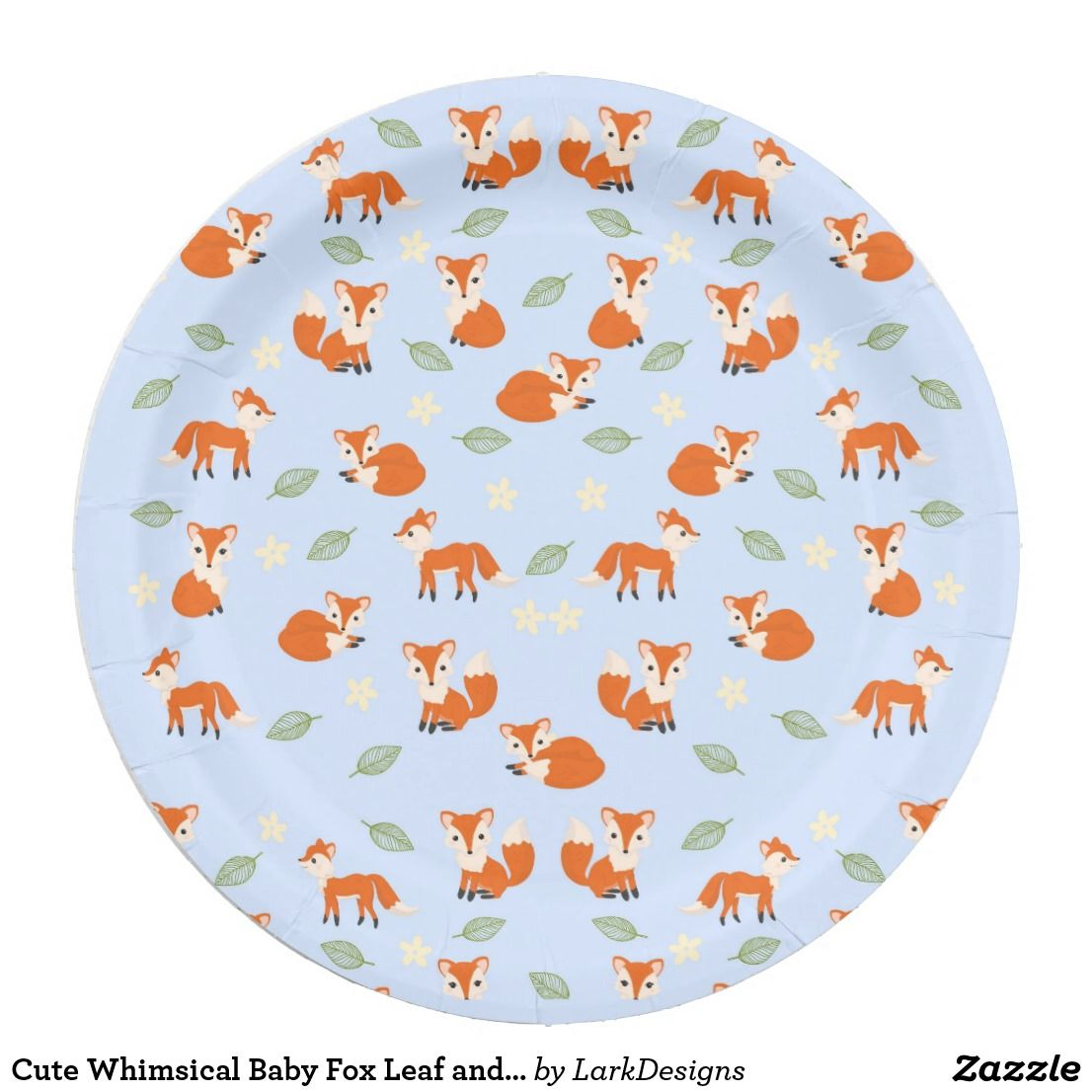 Cute Whimsical Baby Fox Leaf and Flower Pattern Paper Plate  sc 1 st  Pinterest & Cute Whimsical Baby Fox Leaf and Flower Pattern Paper Plate ...