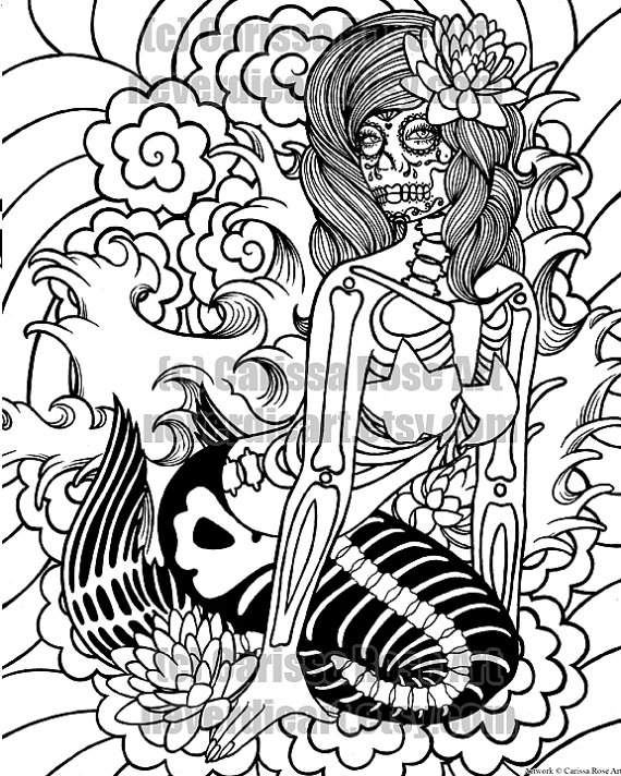 digital download print your own coloring book outline page sirens song mermaid by carissa rose - Mermaid Coloring Pages Adults
