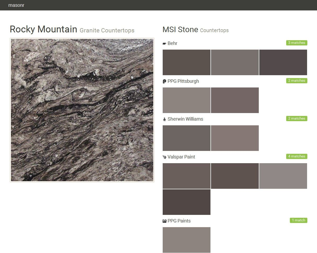 Rocky Mountain. Granite Countertops. Countertops. MSI Stone. Behr. PPG  Pittsburgh.