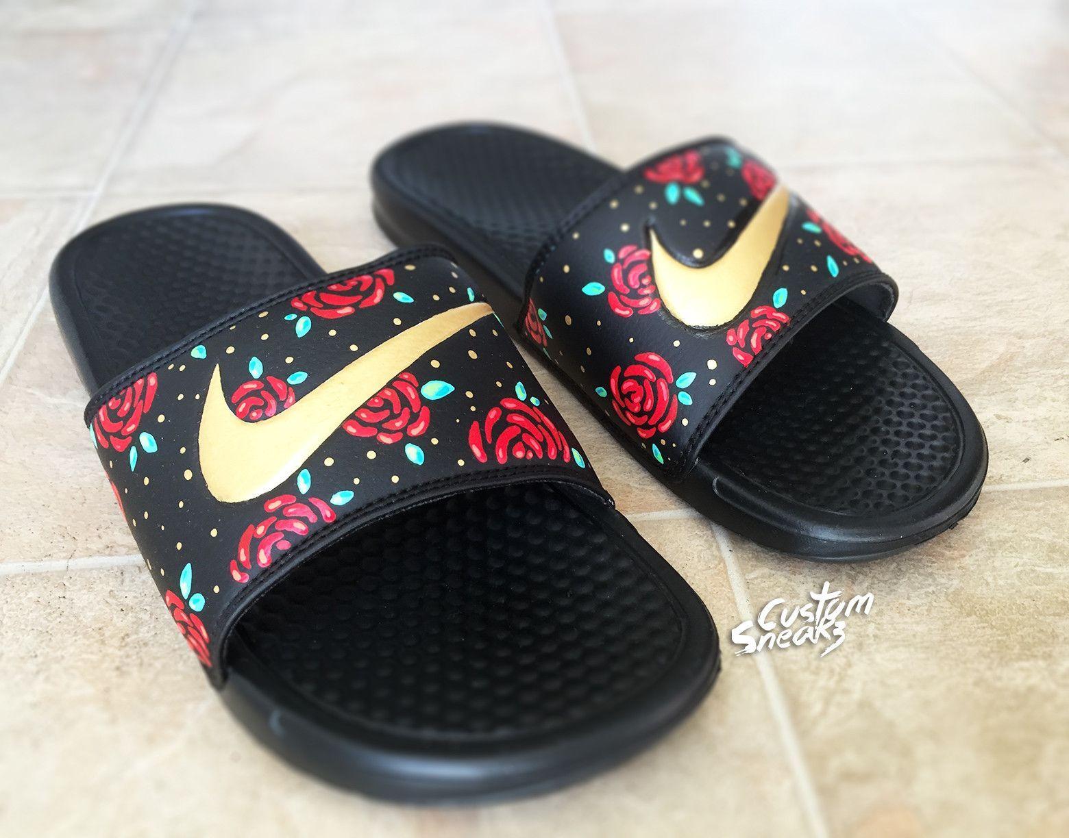 7473a1c5691 Custom Nike Benassi Flip Flop Sandals, Mens Gold Custom Design, Floral,  Roses, Swoosh Slide Sandals