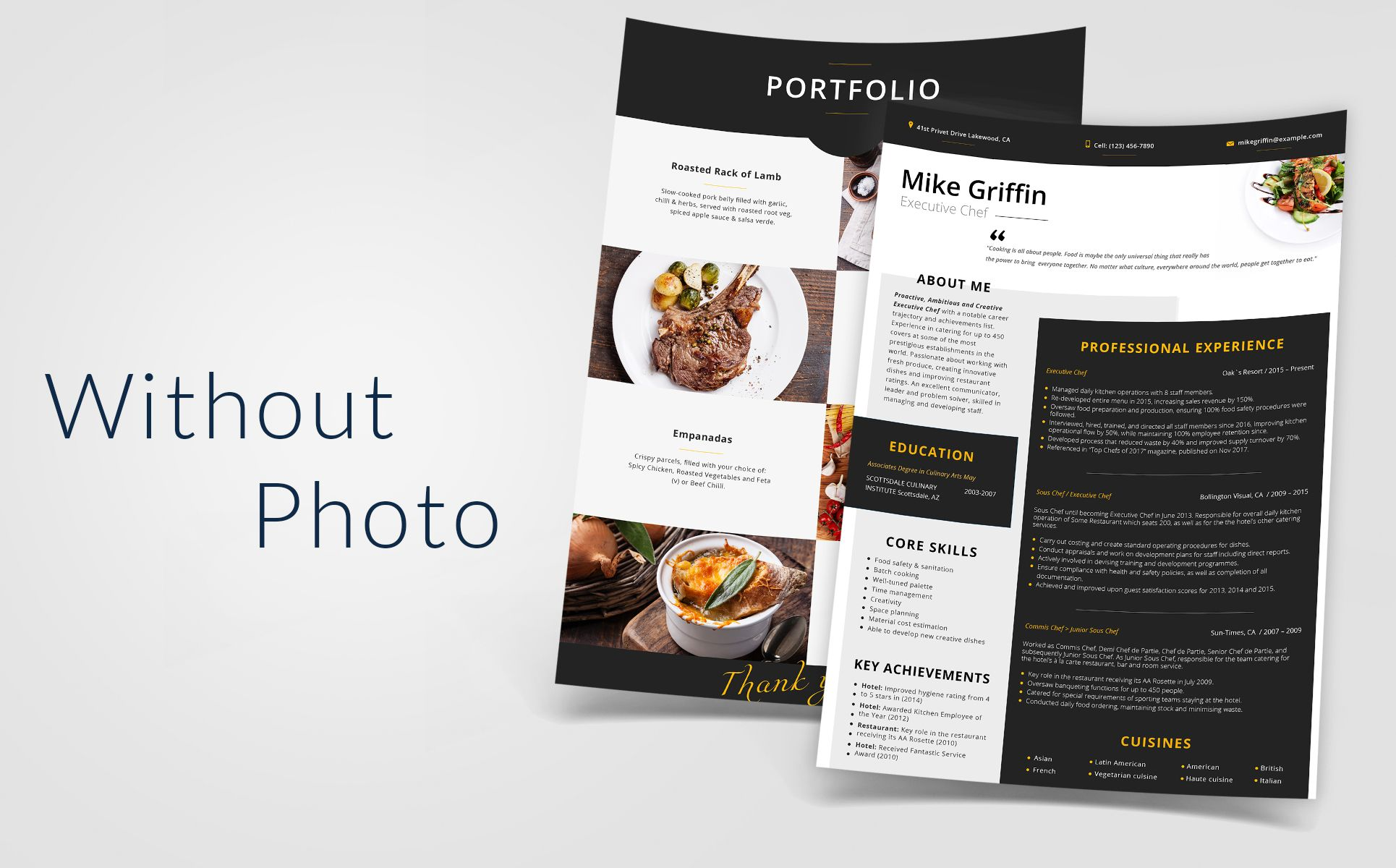 Mike Griffin Executive Chef Resume Template 66432