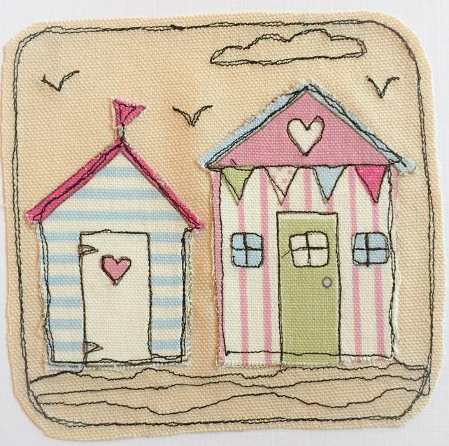 Beach Hut Machine Embroidery Design: Beach Hut Applique Card