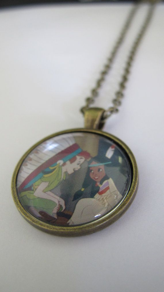 Peter Pan and Tigerlily Brass Necklace van alicevitrum op Etsy