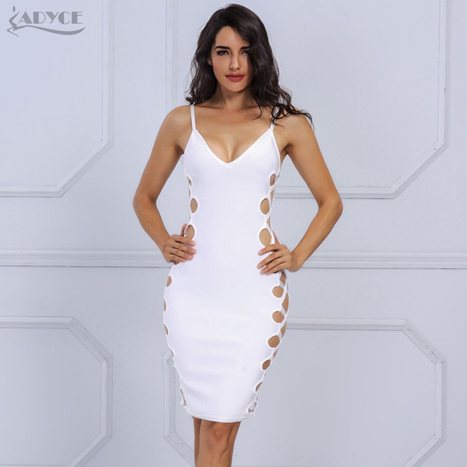 Autumn dress chic white side cut out v neck sleeveless party dress