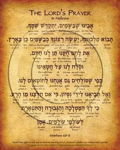 The Lord S Prayer Hebrew Poster The Word In Hebrew Hebrew Prayers Hebrew Poster Hebrew Words