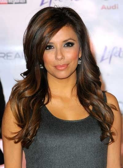 Eva Longoria Long, Layered, Curly, Brunette Hairstyle with ...