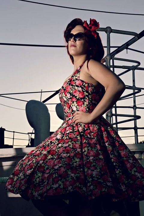 Lady Mayra red roses dress