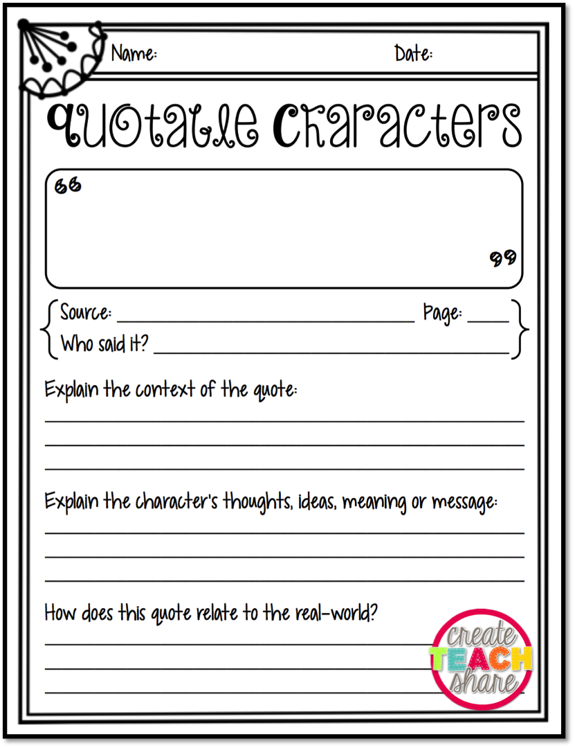 worksheet Character Review Worksheet responding to quotes from the one and only ivan quotable characters freebie