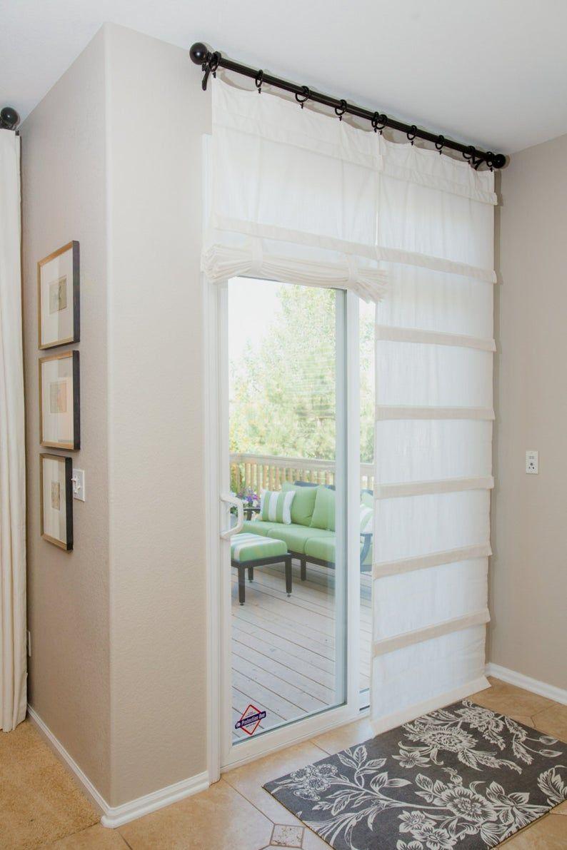Off White Sliding Glass Door Curtain Shade Pricing Is For 1 Etsy In 2020 Glass Door Curtains Sliding Glass Door Curtains Door Coverings