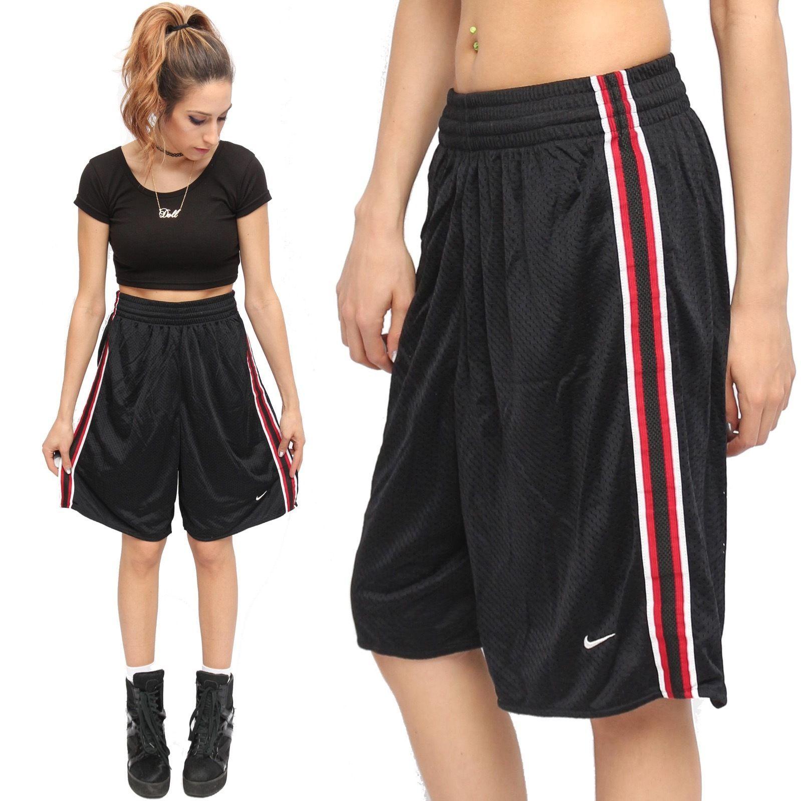 Nike Black Mesh Vintage 90 S Style Hip Hop Basketball Shorts W Red White Stripe Black Nikes Red And White Stripes Basketball Shorts
