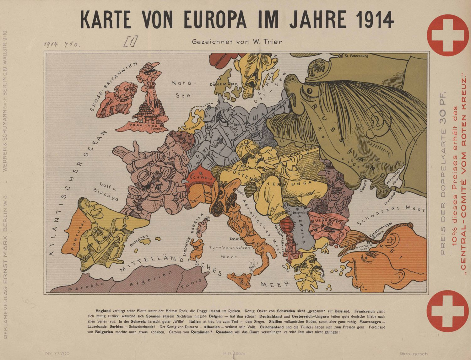 This is a satirical map of the nations of Europe as seen in 1914