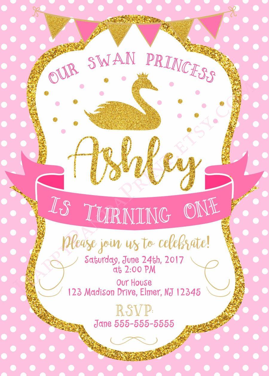 Swan Invitation Swan Birthday Invitation Swan Princess 1st Birthday ...