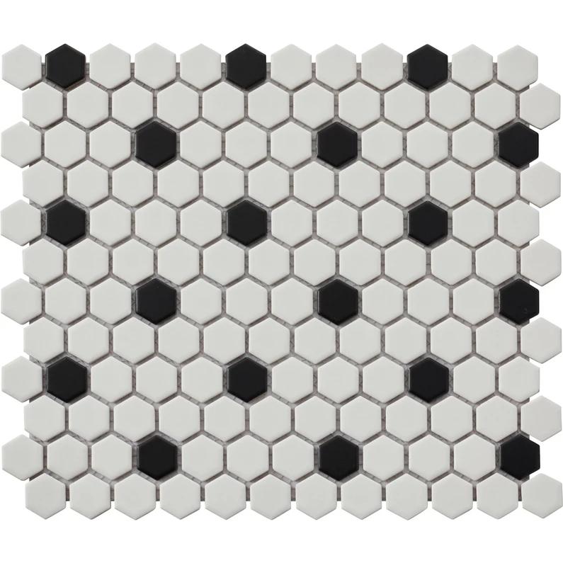 Mosaique Sol Et Mur Hexagon Noir Blanc 2 7 X 2 3 Cm Carrelage Mosaique Tuile Hexagonale Et Sol Et Mur
