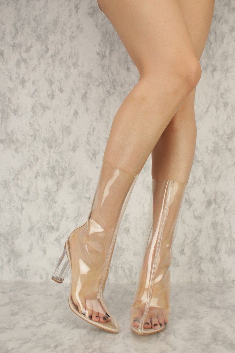 14962731a256 Clear Jelly Pointy Toe Round Clear High Heel Ami ClubWear Boots in ...
