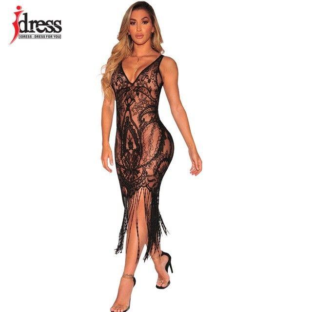 97e359c18 IDress 2018 Sexy See Through Lace Bodycon Dress Women V-Neck Strap Tassel  Maxi Dress