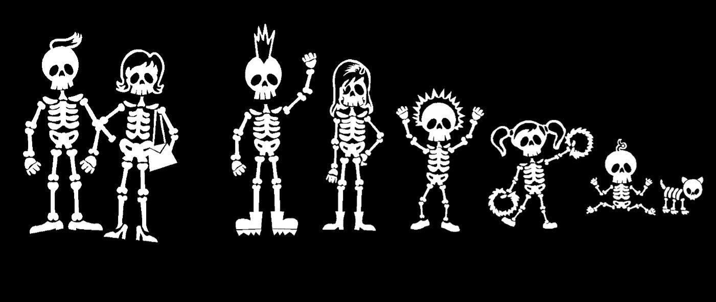 Pin By Jeanne Loves Horror On Skelton Bonez Stick Family Family Decals Stick Figure Family [ 592 x 1401 Pixel ]