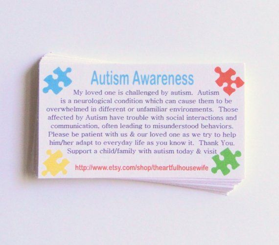 Completely new Autism Awareness cards to handout in during difficult public  ZJ75