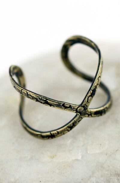 Open Infinity Symbolic Criss Cross Relic Ring S T Y L E