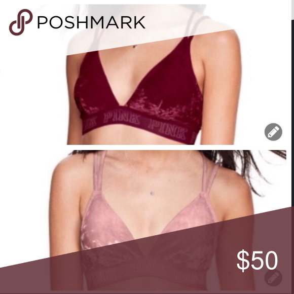 NEW*Victoria/'s Secret PINK* Velvet Bra~Bralette//Cheekster Pantie Set Size Medium