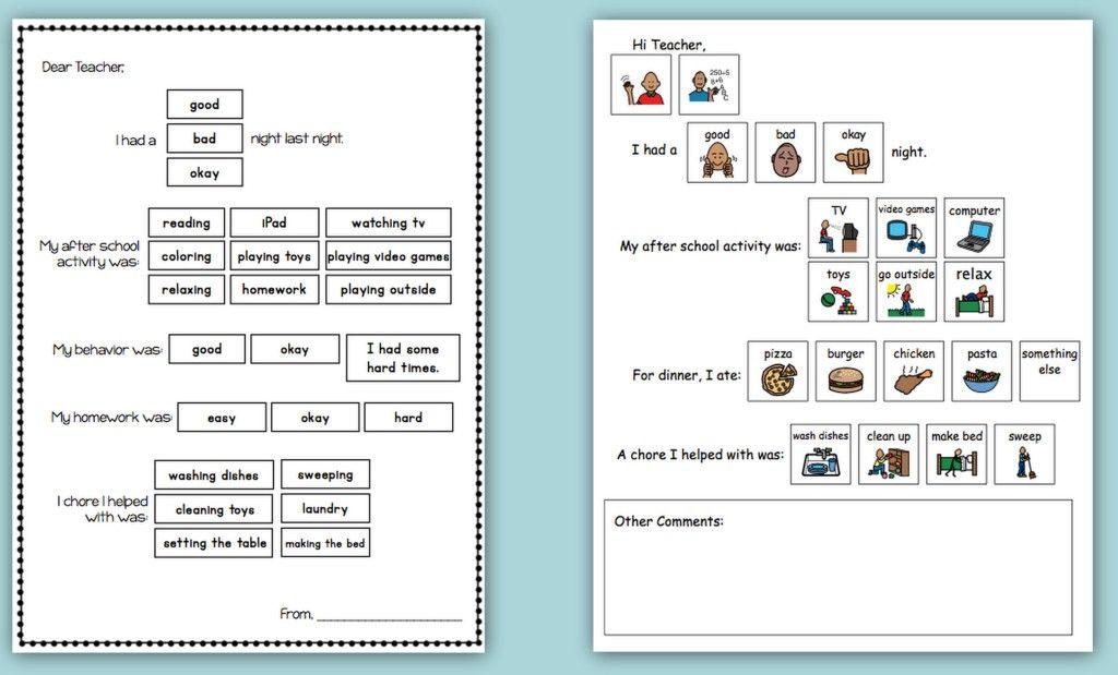 Home School Communication Packet Pinterest Autism Helper Autism