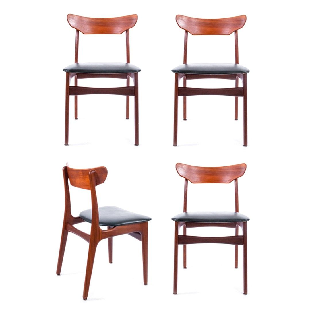 Set Of Four Danish Modern Teak Dining Chairs By Schionning And Elgaard For  Randers Mobelfabrik. Available At Decor NYC Consignment Gallery.