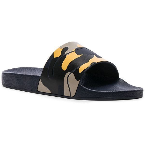 e443a354ce63a Valentino Camouflage Slide Sandals ($295) ❤ liked on Polyvore featuring  men's fashion, men's