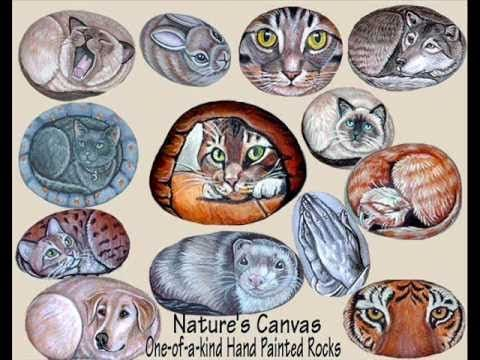 Hand Painted Rock Art Stone paintings Pet portraits by Rock Art Usa
