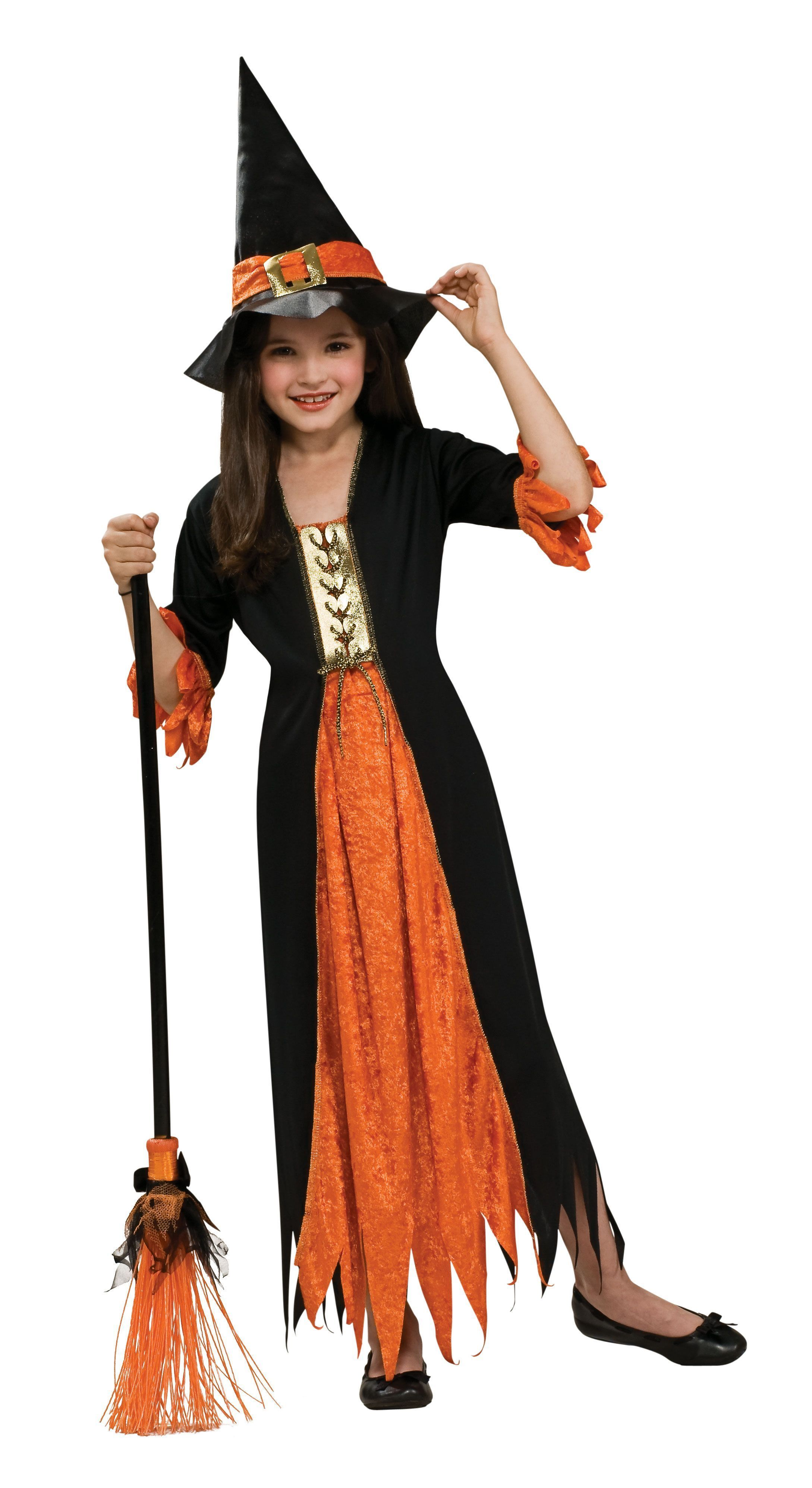 COOL WITCH STYLISH CHILD GIRLS GOTHIC FANCY DRESS HALLOWEEN COSTUME