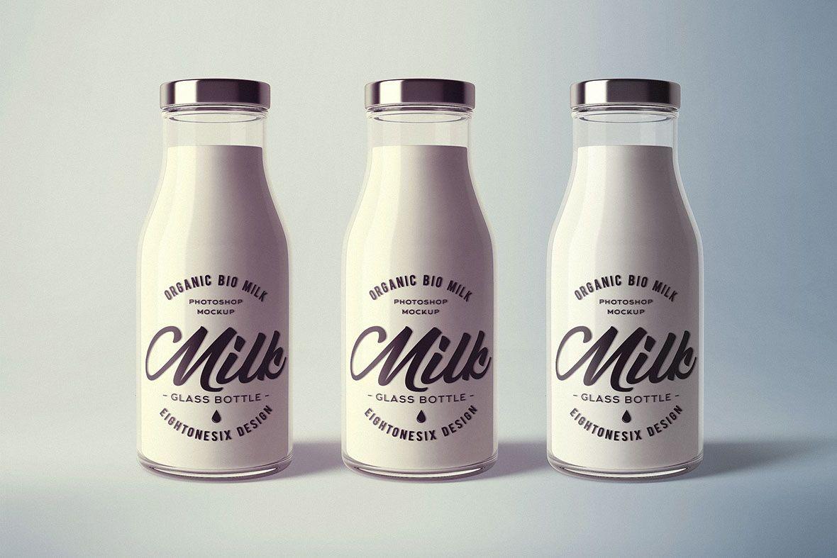 milk bottle design branding glass bottle 3d mock up branding