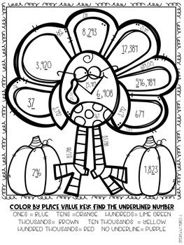 Place Value Color-By-Number Thanksgiving Themed