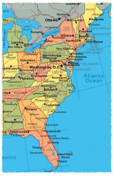 awesome Map of east coast usa | Travelquaz | Pinterest | East coast