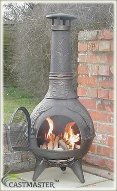 Amazing CASTMASTER AZTEC CAST IRON CHIMINEA CHIMENEA CHIMNEA PATIO HEATER EBAY