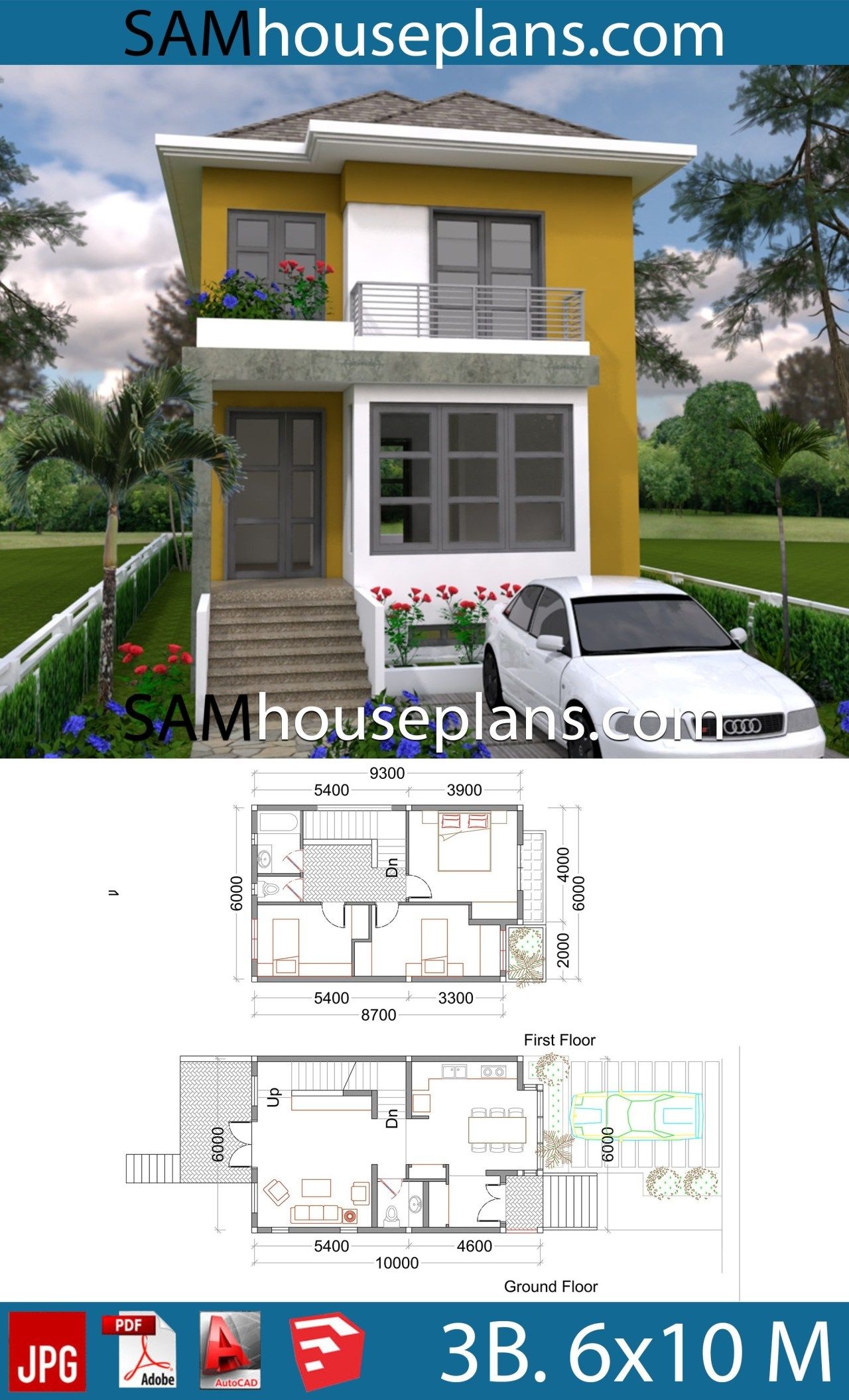 House Plans 6x10 With 3 Bedrooms Sam House Plans House Plans 2bhk House Plan Bungalow Floor Plans